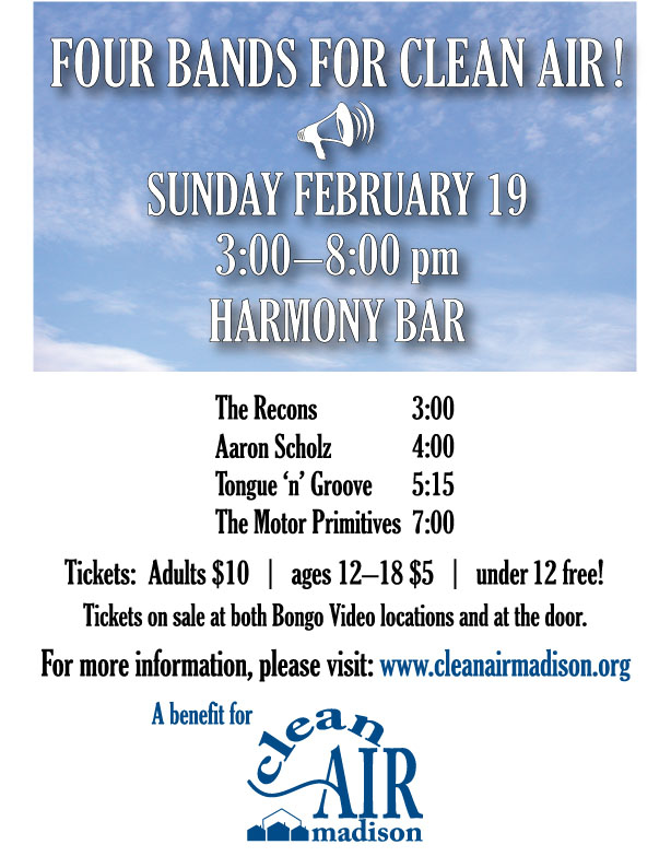 Poster for the CAM benefit, Sunday Feb.19 3pm at the Harmony Bar
